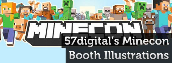 57digital minecon booth backdrop illustrations