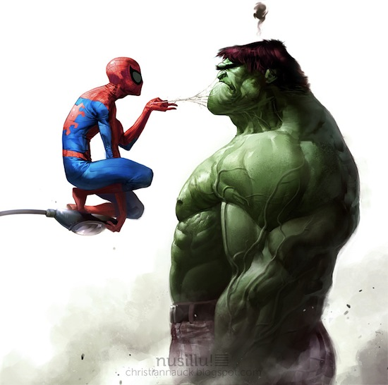 Spidey vs Hulk by ChristianNauck