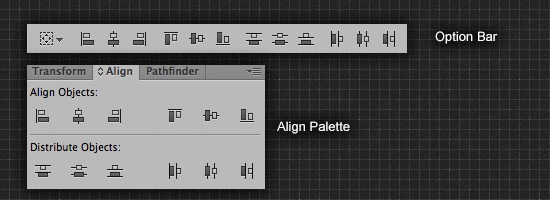 Align in control bar and palette window
