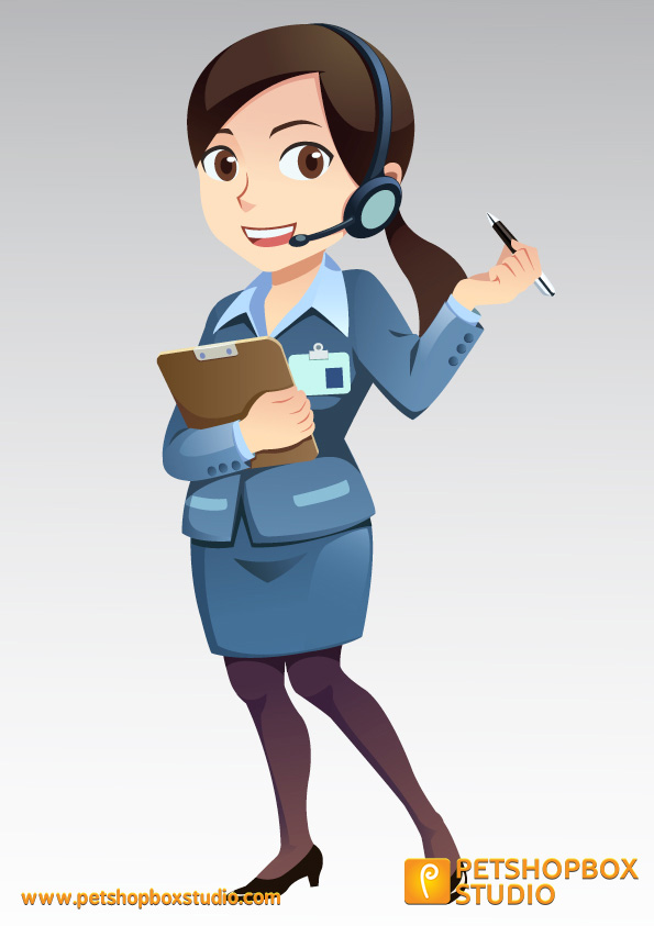 Free vector character support girl 0