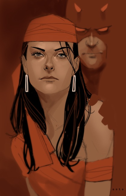 Elektra Natchios and Matt Murdock by Phil Noto